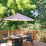 Relax on the deck, perched in the trees.
