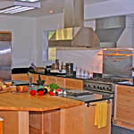 Kitchen teaching island for the cooking school.